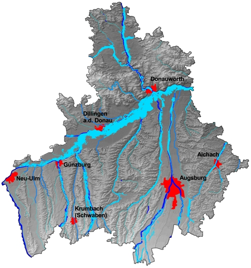 Landkreis Augsburg Karte.Uberschwemmungsgebiete Wasserwirtschaftsamt Donauworth